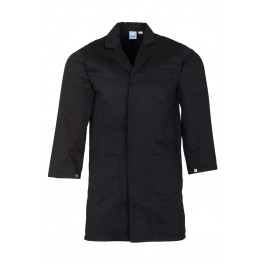 Black Lab Coat with press stud cuffs